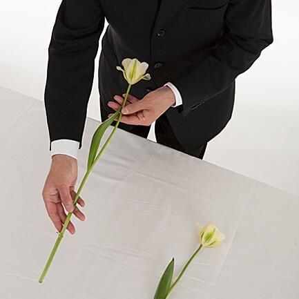 2. 花が手前になるように持ち直し、捧げます。そのまま下がり、一礼をします。